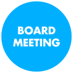 Image of circle with Board Meeting text inside it