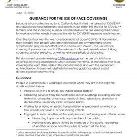 Guidance for the Use of Face Coverings